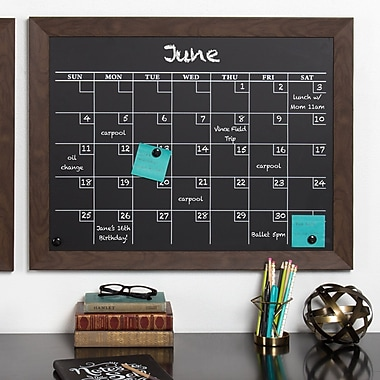 Union Rustic Framed Monthly Calendar Magnetic Chalkboard; Walnut Brown
