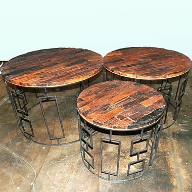 Union Rustic Seychella 3 Piece Wooden Chat Table Set