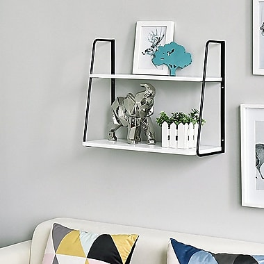 Williston Forge Ja 2-Tier Display Wall Shelf; White