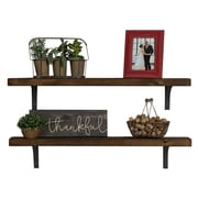 Williston Forge Tamiko Industrial Grace Simple Bracket 2 Piece Accent Shelf Set; Dark Walnut