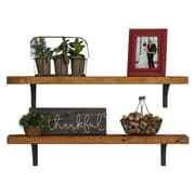 Williston Forge Tamiko Industrial Grace Simple Bracket 2 Piece Accent Shelf Set; Walnut