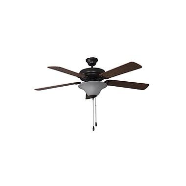 Winston Porter 52'' Godbey 3-Light 5-Blade Fan; French Bronze with Dark Oak/Mahogany Blades