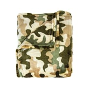 Zoomie Kids Dellview Contemporary Super Soft Print Throw; Green Camo by
