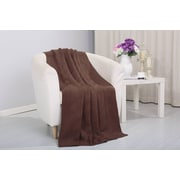 Alcott Hill Coggins Solid Classic Woven Knitted Throw; Brown