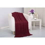 Alcott Hill Coggins Solid Classic Woven Knitted Throw; Burgundy