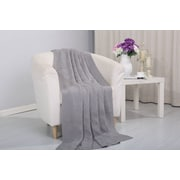 Alcott Hill Coggins Solid Classic Woven Knitted Throw; Gray
