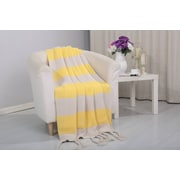 Alcott Hill Coggins Classic Woven Knitted 2-Tone Throw; Yellow