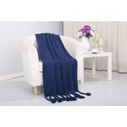 Alcott Hill Coggins Classic Woven Knitted Throw; Navy