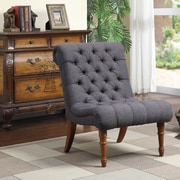 Astoria Grand Barnkine Tufted Side Chair; Dark Grey