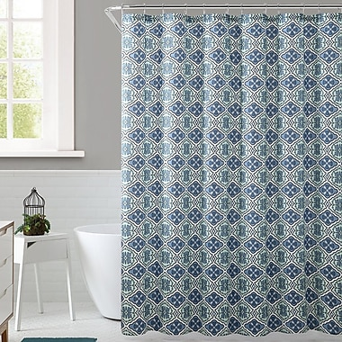 Bungalow Rose Delvin Royal Bath Floreada Polyester Shower Curtain; Blue/Green