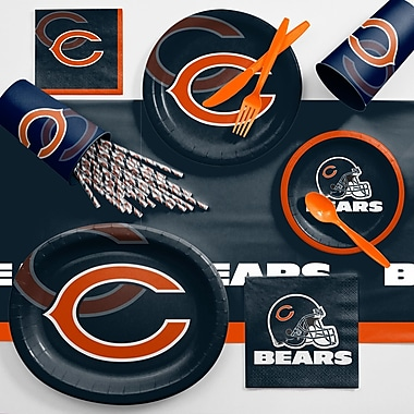 Creative Converting NFL Ultimate Fan Party Supplies 113 Piece Dinner Plate Set; Chicago Bears