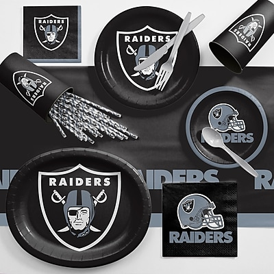 Creative Converting NFL Ultimate Fan Party Supplies 113 Piece Dinner Plate Set; Oakland Raiders WYF078281998336