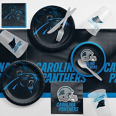Creative Converting NFL Game Day Party Supplies 81 Piece Dinner Plate Set; Carolina Panthers