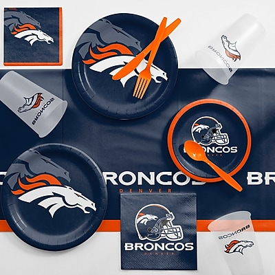 Creative Converting NFL Game Day Party Supplies 81 Piece Dinner Plate Set; Denver Broncos