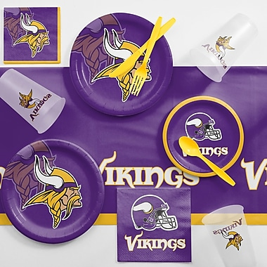 Creative Converting NFL Game Day Party Supplies 81 Piece Dinner Plate Set; Minnesota Vikings