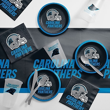 Creative Converting NFL Tailgating 56 Piece Dinner Plate Set; Carolina Panthers