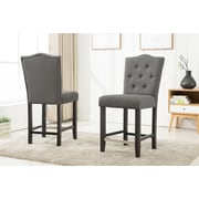 Darby Home Co Fontanne Counter Height Upholstered Dinning Chair (Set of 2); Gray