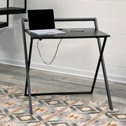 Ebern Designs Naruka Writing Desk; Black/Dark Brown