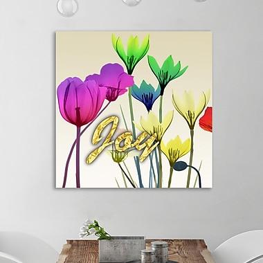 Ebern Designs 'Floral Calm Pop Joy' Graphic Art Print on Wrapped Canvas; 12'' H x 12'' W