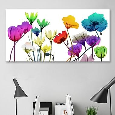 Ebern Designs 'Floral Calm Pop' Graphic Art Print on Wrapped Canvas; 12'' H x 24'' W