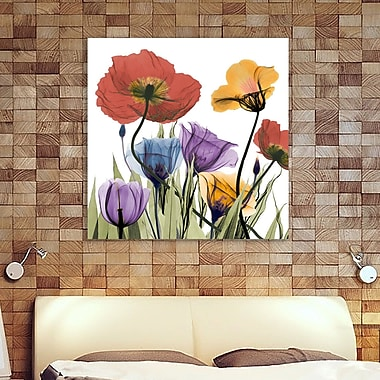 Ebern Designs 'Flowerscape' Graphic Art Print on Wrapped Canvas; 18'' H x 18'' W