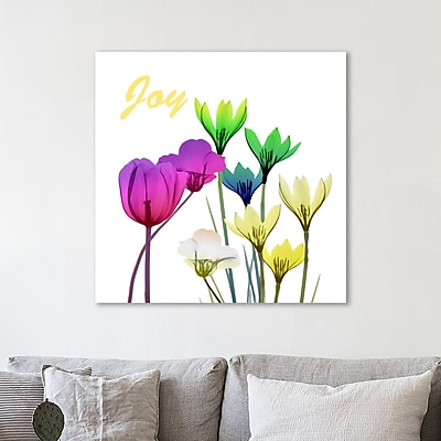 Ebern Designs 'Floral Pop Joy' Graphic Art Print on Wrapped Canvas; 24'' H x 24'' W