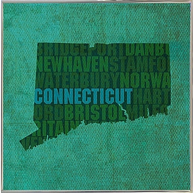 East Urban Home 'Connecticut State Words' Graphic Art Print; Metal Silver Framed