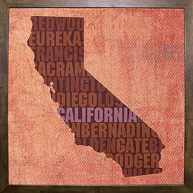 East Urban Home 'California State Words' Graphic Art Print; Cafe Mocha Framed