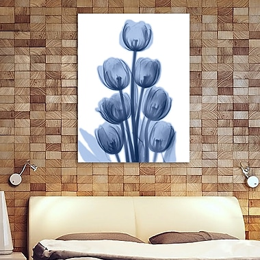 Ebern Designs 'Indigo Spring Tulips' Graphic Art Print on Wrapped Canvas; 40'' H x 30'' W