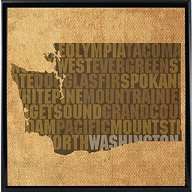 East Urban Home 'Washington State Words' Graphic Art Print; Metal Black Framed
