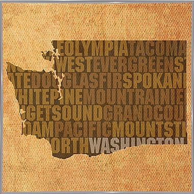 East Urban Home 'Washington State Words' Graphic Art Print; Metal White Framed