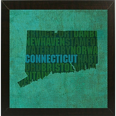 East Urban Home 'Connecticut State Words' Graphic Art Print; Brazilian Walnut Medium Framed