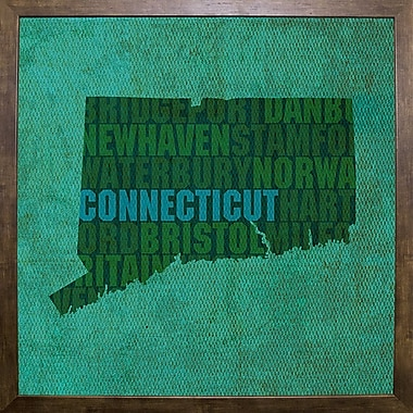 East Urban Home 'Connecticut State Words' Graphic Art Print; Cafe Mocha Framed