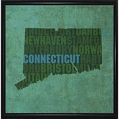 East Urban Home 'Connecticut State Words' Graphic Art Print; Metal Flat Black Framed