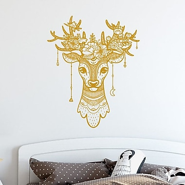 Decal House Deer Antler Boho Decor Wall Decal; Silver Gray