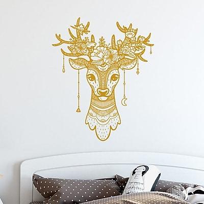 Decal House Deer Antler Boho Decor Wall Decal; Yellow