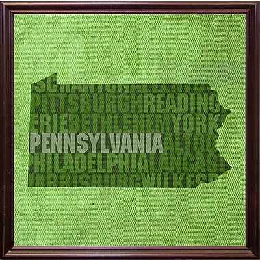 East Urban Home 'Pennsylvania State Words' Graphic Art Print; Cherry Grande Framed