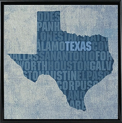 East Urban Home 'Texas State Words' Graphic Art Print; Metal Black Framed