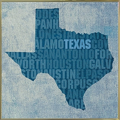 East Urban Home 'Texas State Words' Graphic Art Print; Metal Gold Framed