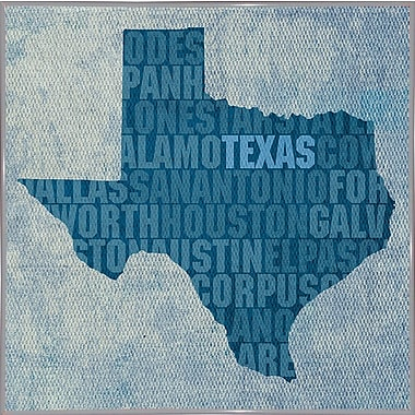 East Urban Home 'Texas State Words' Graphic Art Print; Metal White Framed