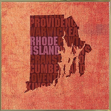 East Urban Home 'Rhode Island State Words' Graphic Art Print; Metal Gold Framed