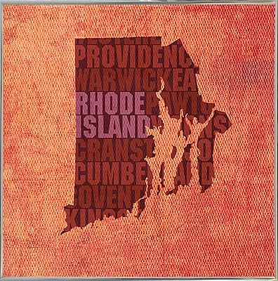 East Urban Home 'Rhode Island State Words' Graphic Art Print; Metal Silver Framed