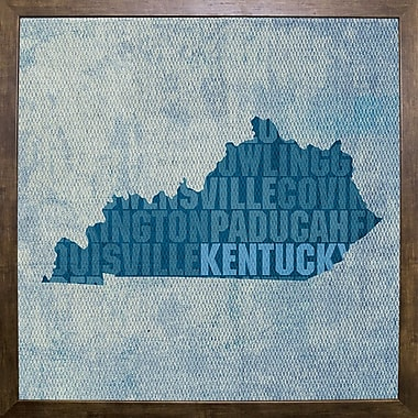 East Urban Home 'Kentucky State Words' Graphic Art Print; Cafe Mocha Framed