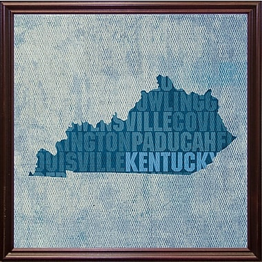 East Urban Home 'Kentucky State Words' Graphic Art Print; Cherry Grande Framed