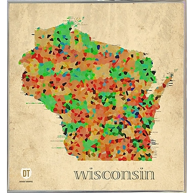 East Urban Home 'Wisconsin' Graphic Art Print; Metal Silver Framed