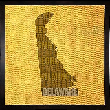 East Urban Home 'Delaware State Words' Graphic Art Print; Black Medium Framed