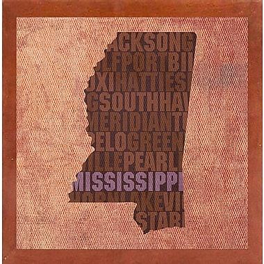 East Urban Home 'Mississippi State Words' Graphic Art Print; Canadian Walnut Medium Framed