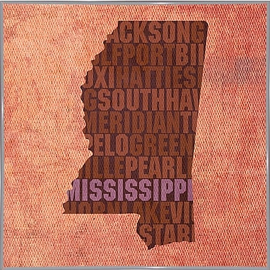 East Urban Home 'Mississippi State Words' Graphic Art Print; Metal White Framed