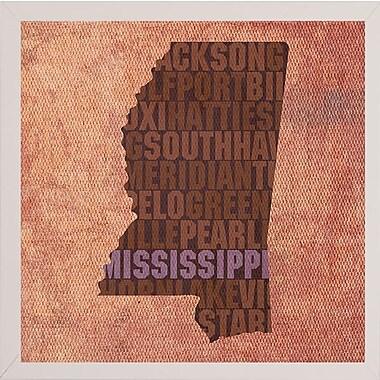 East Urban Home 'Mississippi State Words' Graphic Art Print; White Medium Framed