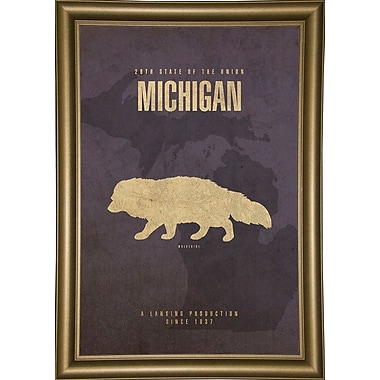 East Urban Home 'Michigan Poster' Graphic Art Print; Bistro Gold Framed